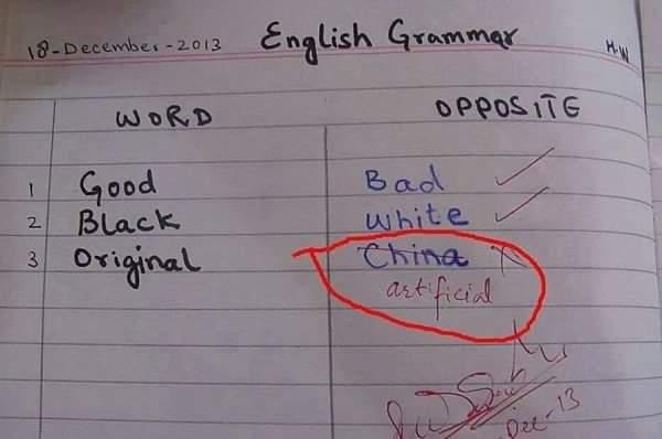 English Grammar Homework Of Opposite Words